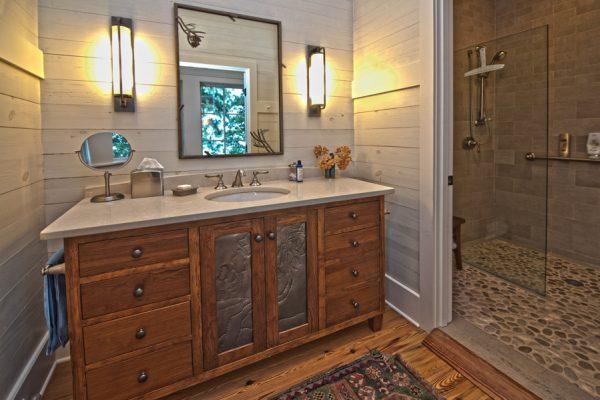 rustic LEED cabin bathroom