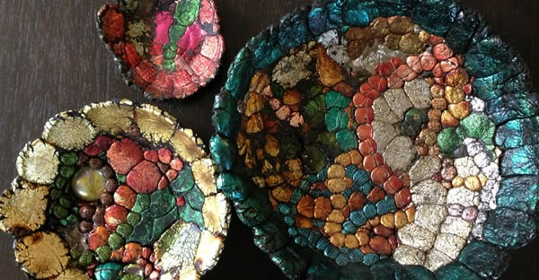 recycled mardis gras bead bowls from Lyons Share Gallery
