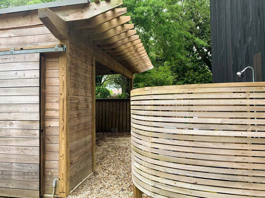 outdoor shower sustainable wood